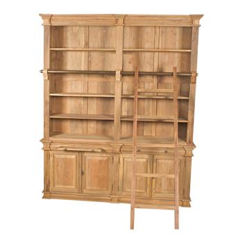 teak boekenkast met trap/ladder